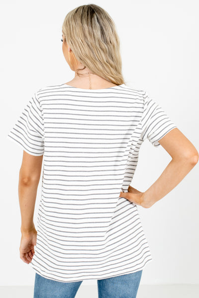 Women's White Split Hem Boutique Top