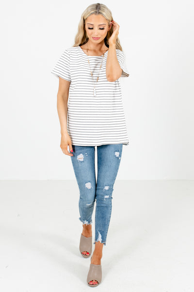 Women's White Casual Everyday Boutique Tops