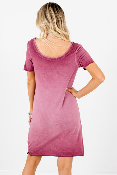 Women's Pink Round Strappy Neckline Boutique Knee-Length Dress