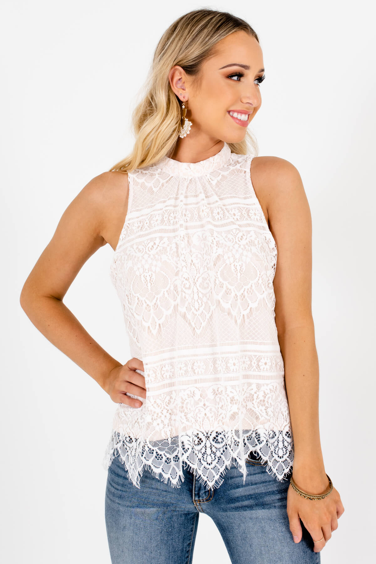 White Lace Overlay Boutique Tank Tops for Women