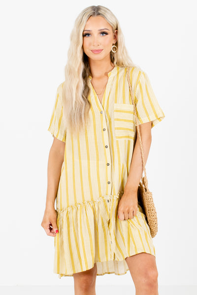 Yellow Stripe Patterned Boutique Mini Dresses for Women