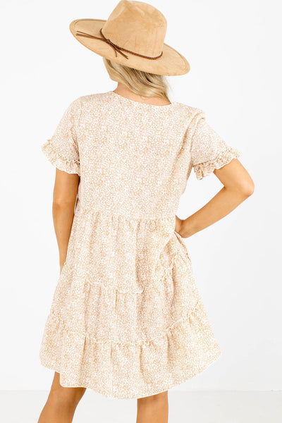 Women's Cream Ruffle Accented Boutique Mini Dress