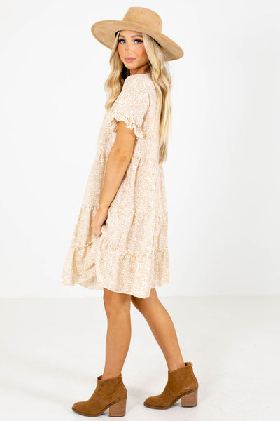 Cream V-Neckline Boutique Mini Dresses for Women