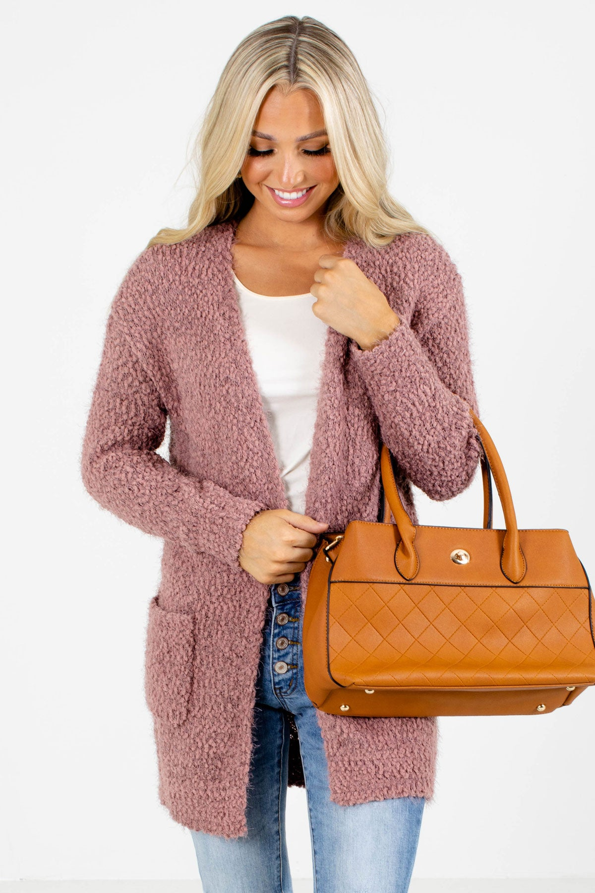 Mauve Popcorn Knit Boutique Cardigans for Women