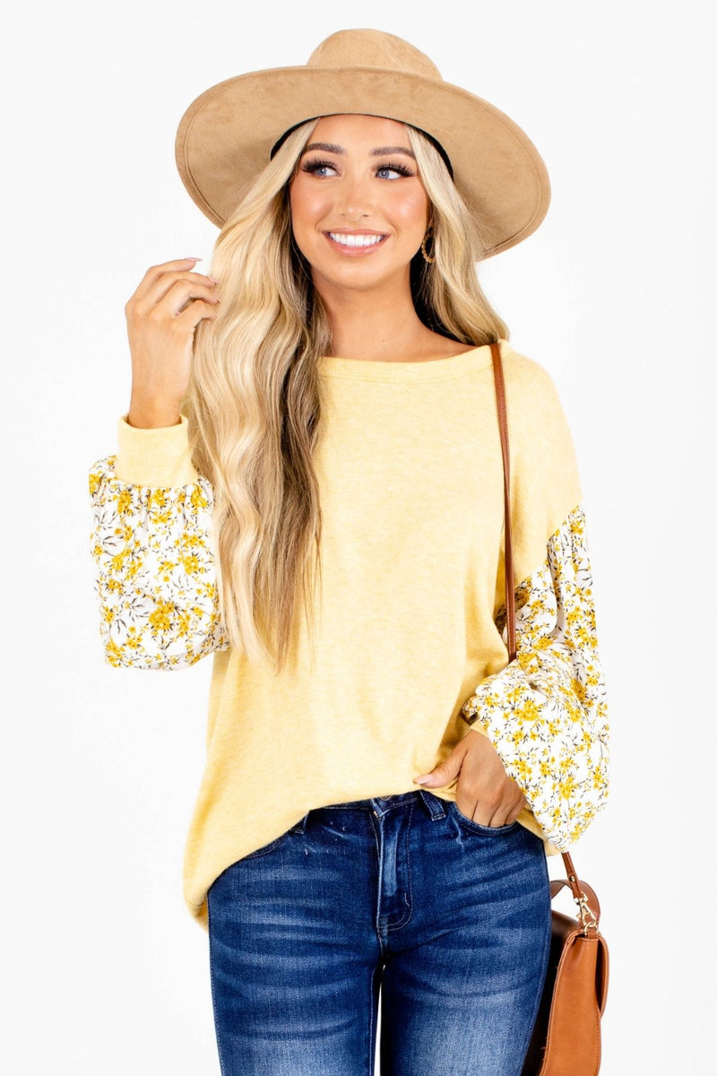Sunshine and Daffodils Floral Sleeve Top - Yellow