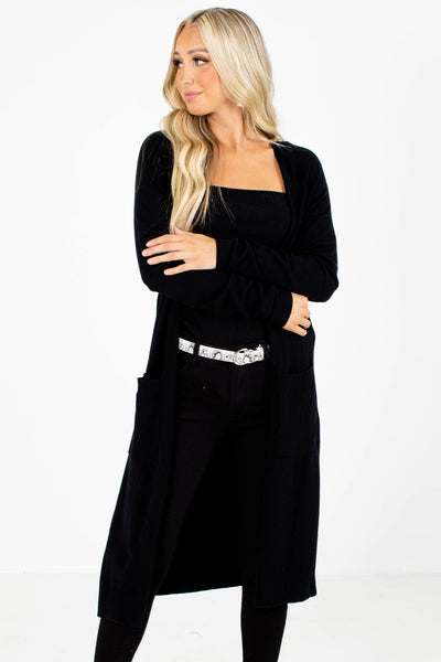 Black Layering Boutique Cardigans for Women