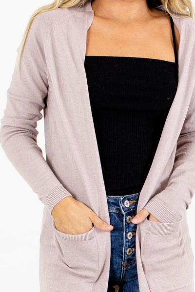 Women's Purple Split Hem Boutique Cardigan