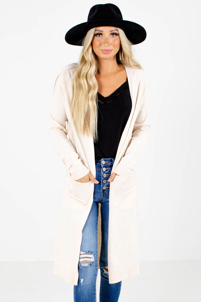 Women's Cream Long Sleeve Boutique Cardigan