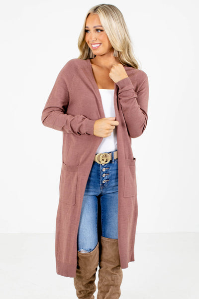 Women's Mauve Longer Length Boutique Cardigan