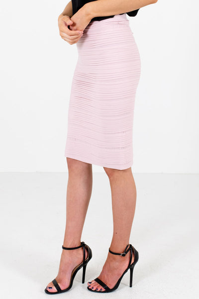 Women's Blush Pink Knee-Length Boutique Skirt