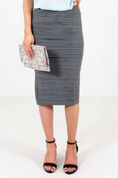Gray Business Casual Boutique Pencil Skirts for Women