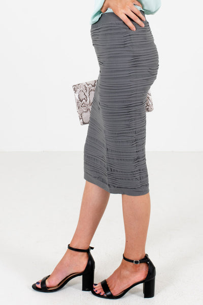 Gray Hugging Fit Boutique Knee-Length Skirts for Women