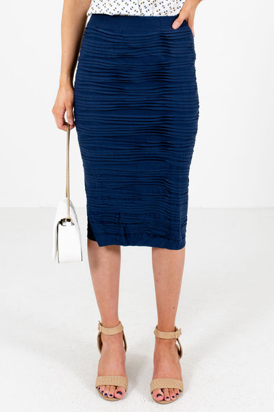 Navy Blue Professional Workwear Boutique Skirts for Women