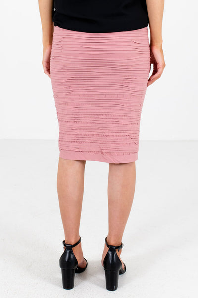 Women's Pink Textured Material Boutique Skirts