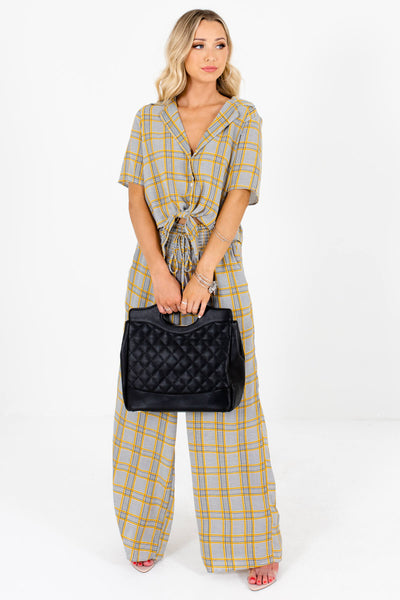 Gray Plaid Cute and Comfortable Boutique Two-Piece Sets for Women