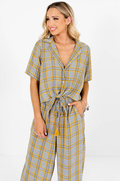 Women's Gray Plaid Tie Front Style Shirt Boutique Two-Piece Set
