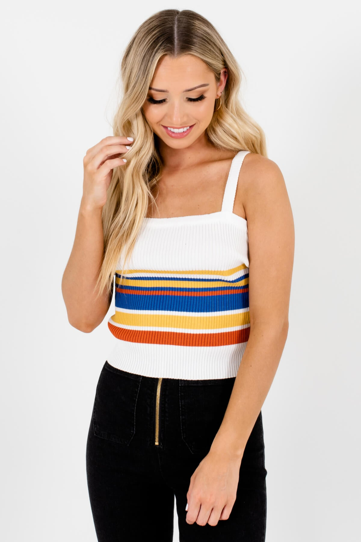 White Multi Striped Boutique Tank Tops for Women