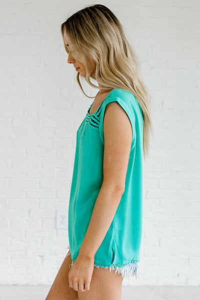 Turquoise Blue Lightweight Boutique Tops for Women