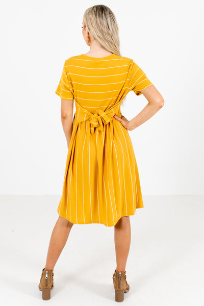 Women's Mustard Waist Tie Detailed Boutique Mini Dress