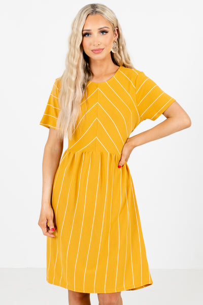 Women's Mustard Short Sleeve Boutique Mini Dress