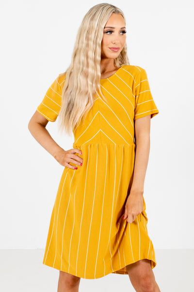 Mustard Cute and Comfortable Boutique Mini Dresses for Women