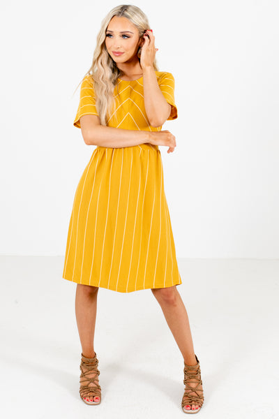 Mustard and White Stripe Patterned Boutique Mini Dresses for Women