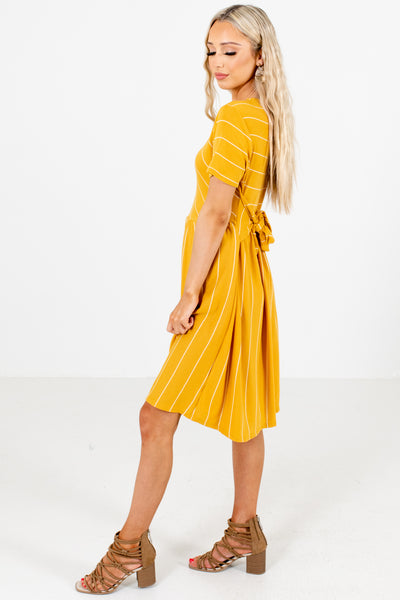 Mustard High-Quality Material Boutique Mini Dresses for Women