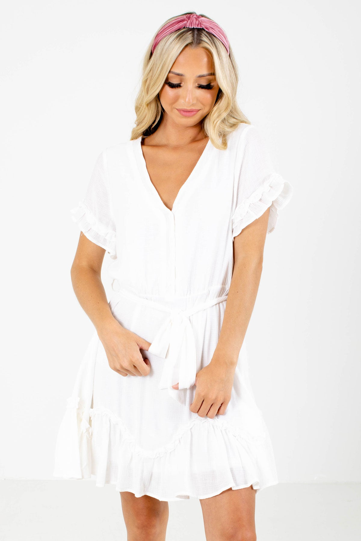 White Button-Up Bodice Boutique Mini Dresses for Women