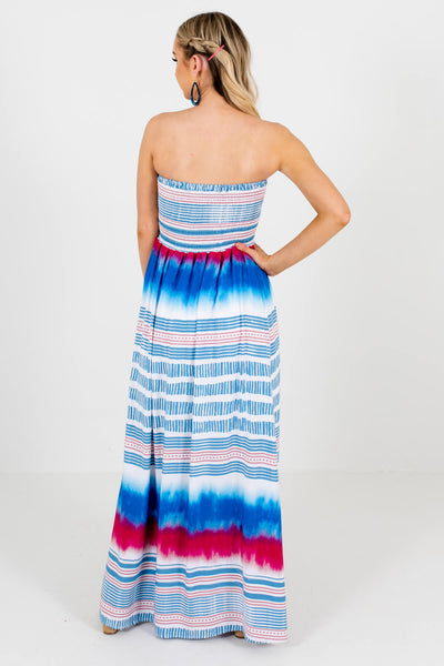 Women's White Multicolored Strapless Style Boutique Maxi Dress