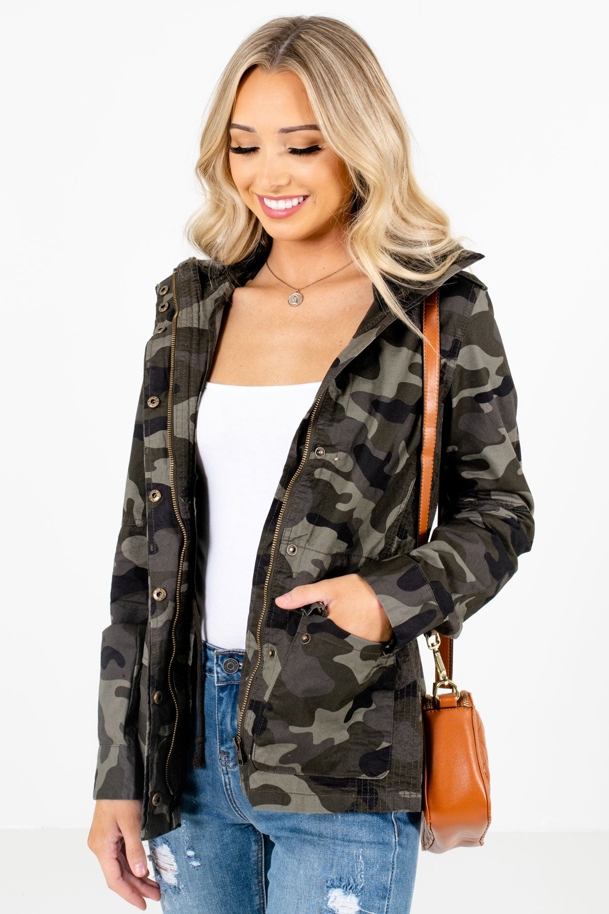 Green Camouflage Patterned Boutique Jackets for Women