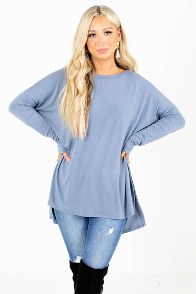 Blue Round Neckline Boutique Tops for Women