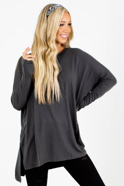 Gray Split High-Low Hem Boutique Tops for Women