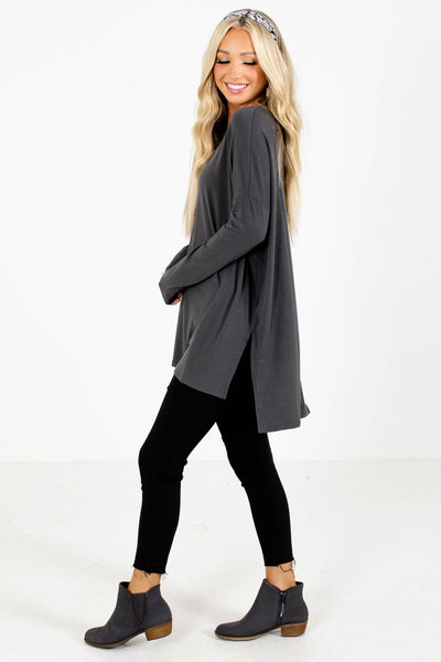 Women's Gray Long Sleeve Boutique Top