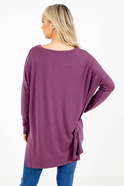 Women's Purple Relaxed Fit Boutique Top
