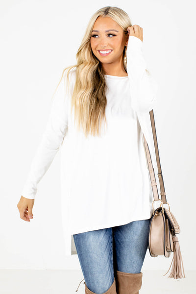 White Split High-Low Hem Boutique Tops for Women