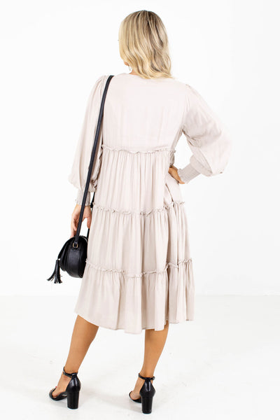 Women's Beige Long Sleeve Boutique Midi Dress