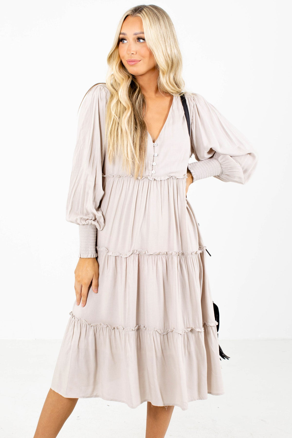 Beige Button-Up Bodice Boutique Midi Dresses for Women