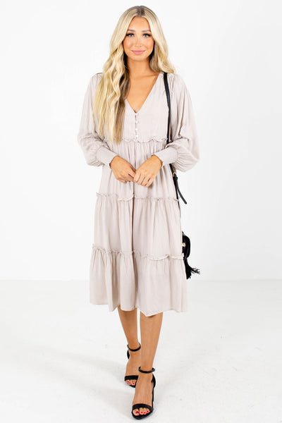 Beige Cute and Comfortable Boutique Midi Dresses for Women