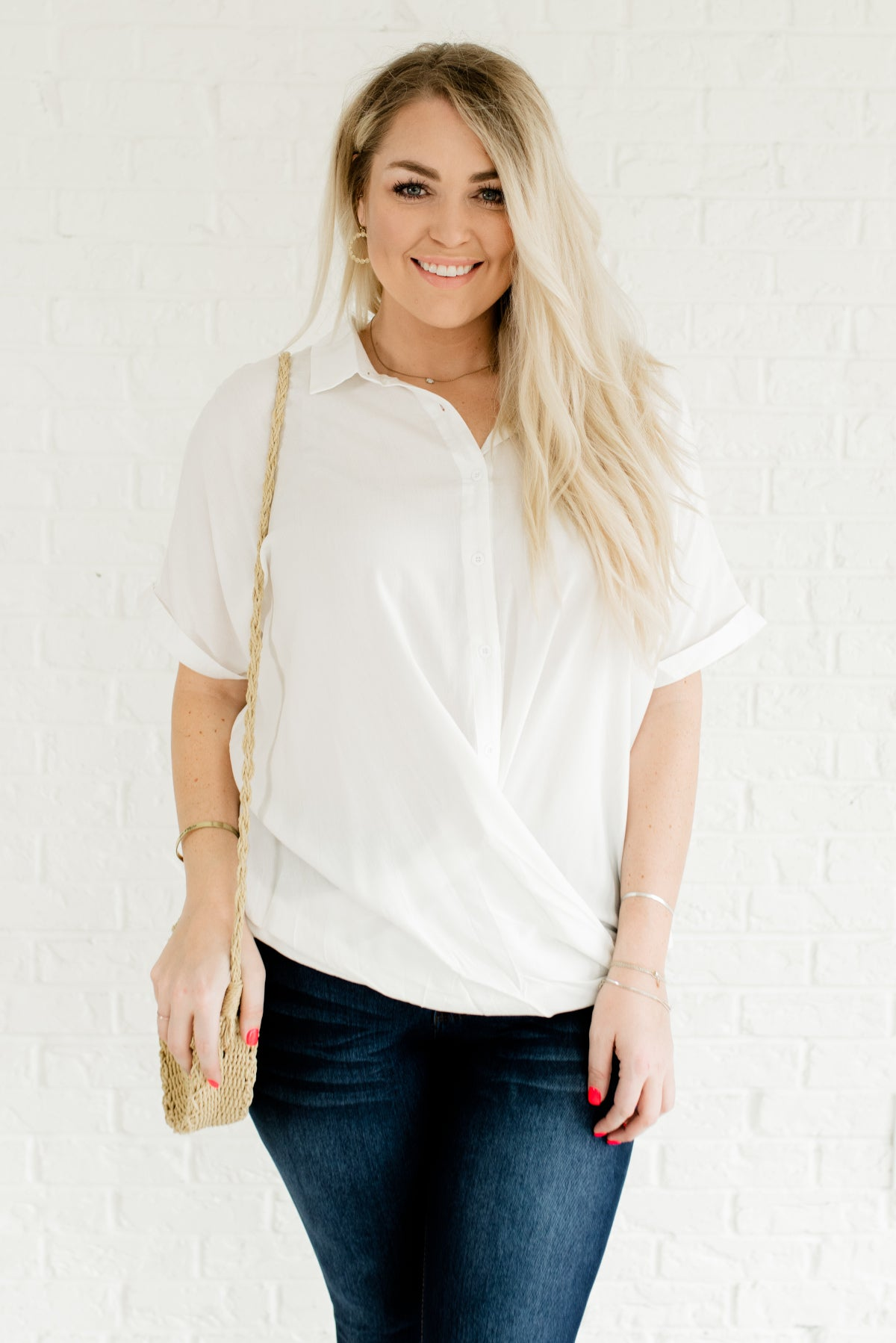 White Button-Up Plus Size Boutique Shirts for Women