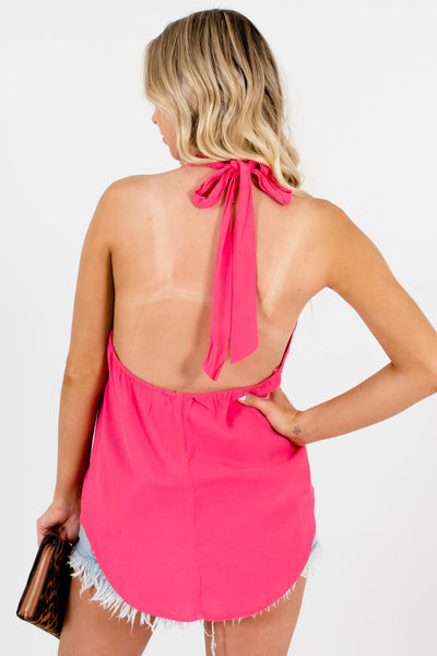 Women's Pink Open Back Boutique Tank Tops