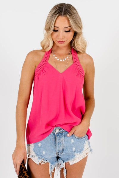 Women's Pink V-Neckline Boutique Tank Tops