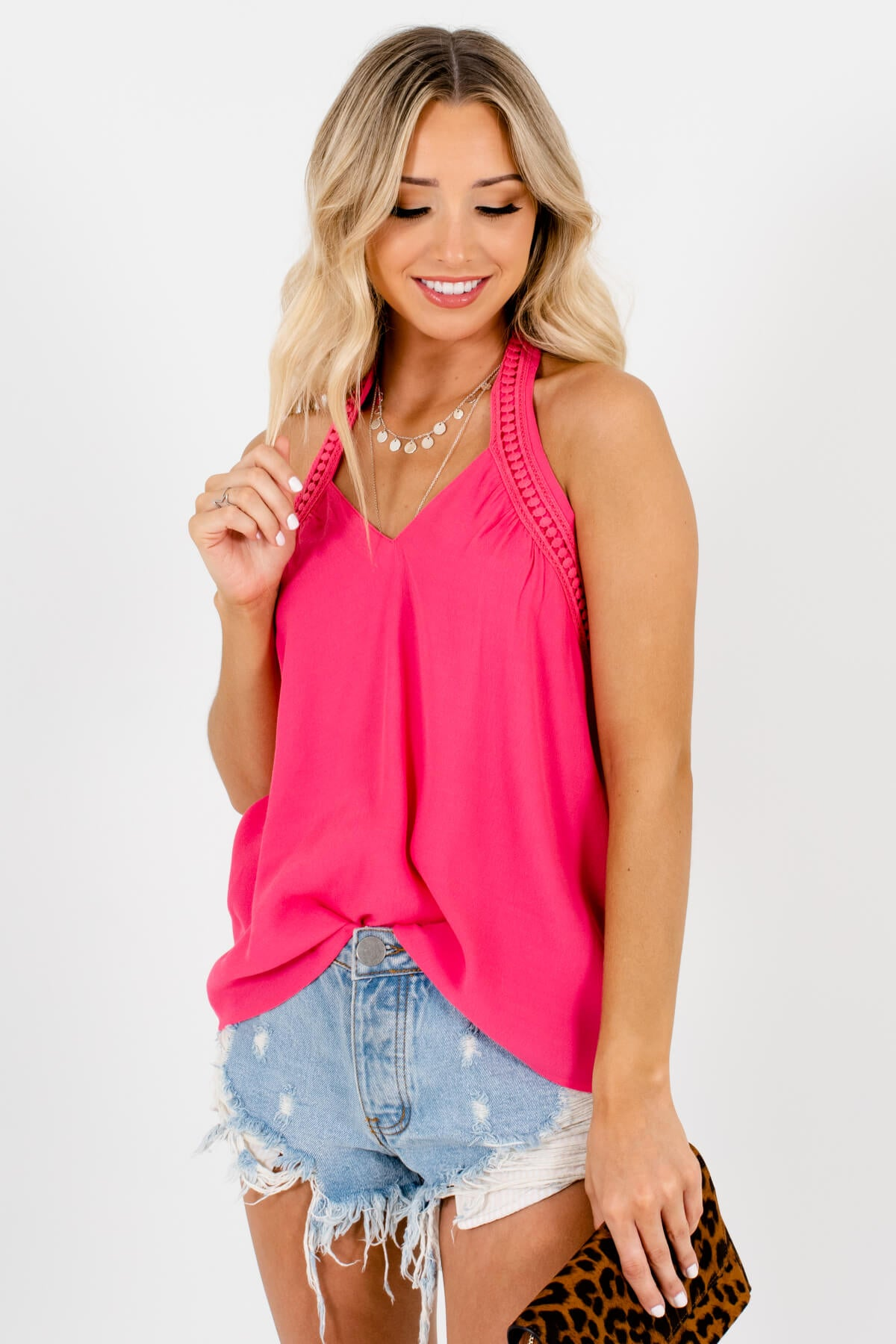 Pink Crochet Accented Boutique Tank Tops for Women