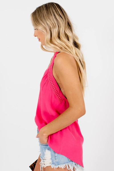 Pink Halter Style Boutique Tank Tops for Women