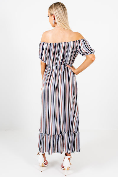 Women's Blue Multi Striped High-Low Hem Boutique Midi Length Dress