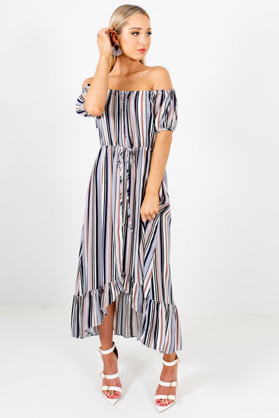 Blue Multi Striped Off Shoulder Style Boutique Midi Dresses for Women