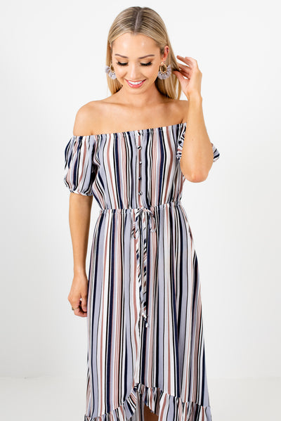 Women's Blue Multi Striped Tie Front Boutique Midi Dress