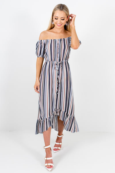 Women's Blue Multi Striped Spring and Summertime Boutique Clothing