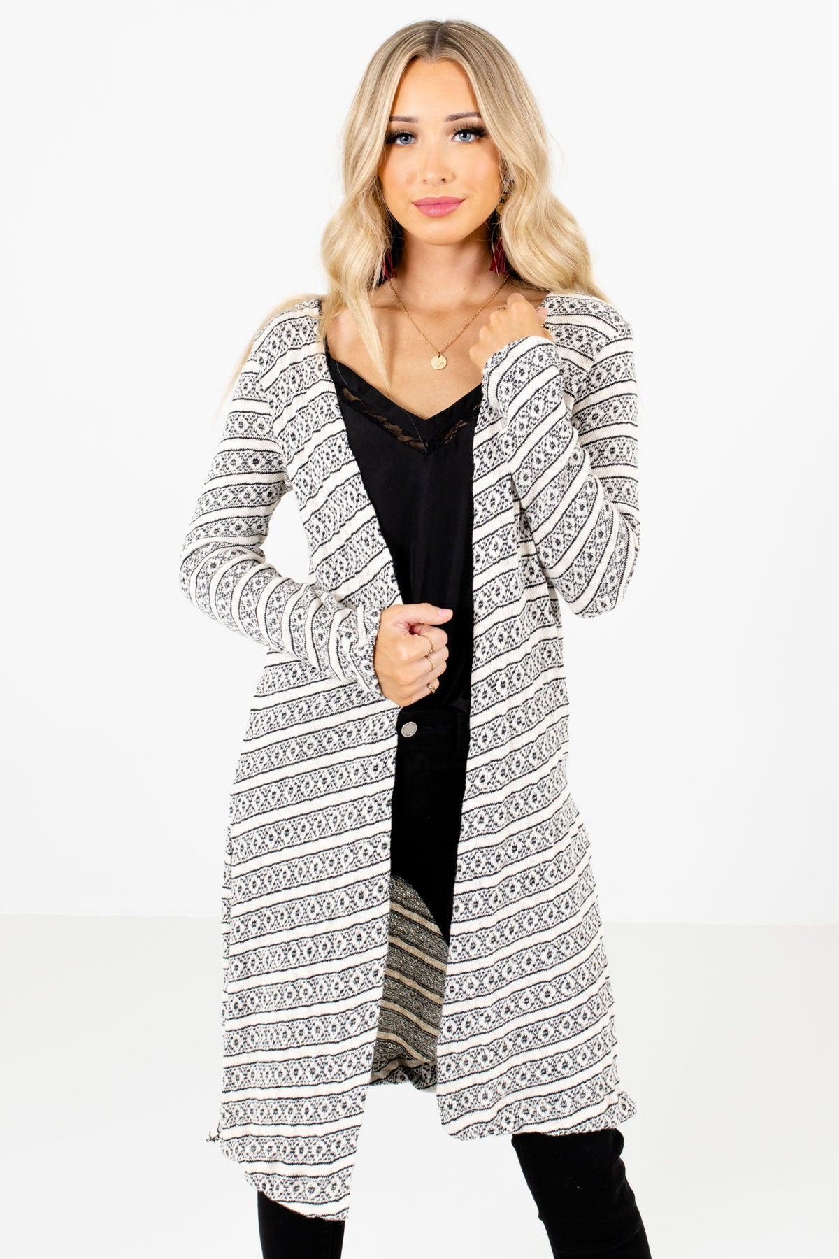 White and Black Stripe Geometric Patterned Boutique Cardigans for Women
