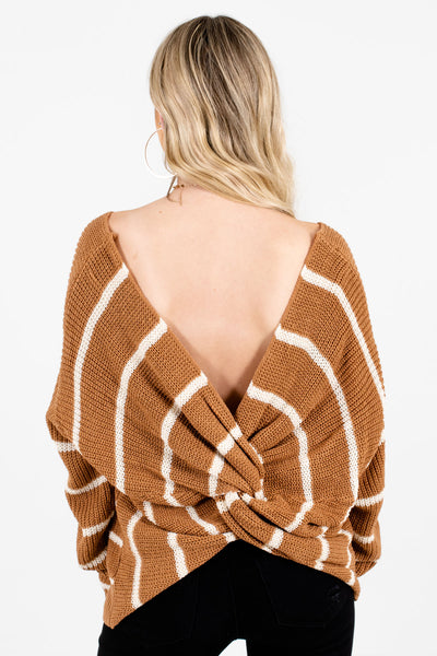 Women's Brown Open Back Style Boutique Sweater