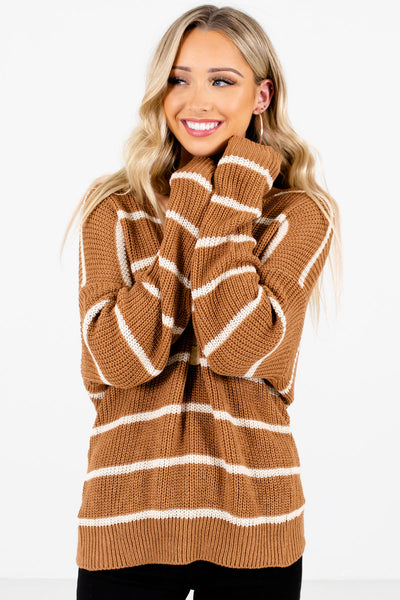 Women's Brown High-Quality Knit Material Boutique Sweater